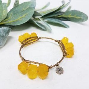 BOURBON & BOWTIES Yellow Stone Metal Wrap Bracelet